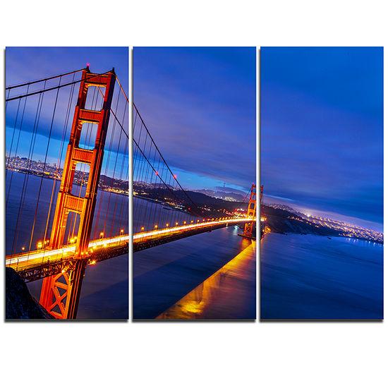 Designart Golden Gate In Blue Background Sea Bridge Triptych Canvas Art Print