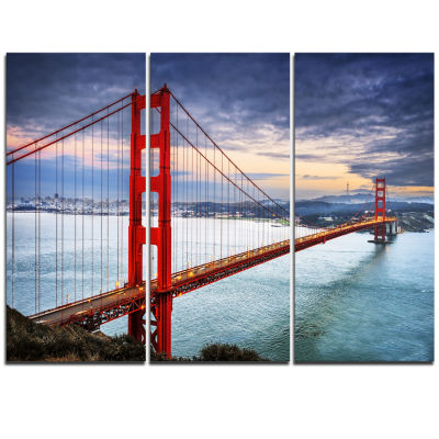 Designart Golden Gate Under Cloudy Sky Sea BridgeTriptych Canvas Art Print