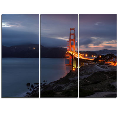 Designart Golden Gate With Night Illumination SeaBridge Triptych Canvas Art Print