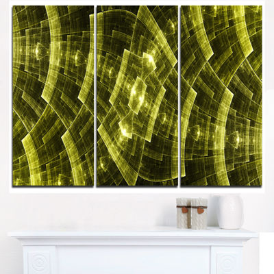 Designart Golden Psychedelic Fractal Metal Grid Art Abstract Art On Triptych Canvas