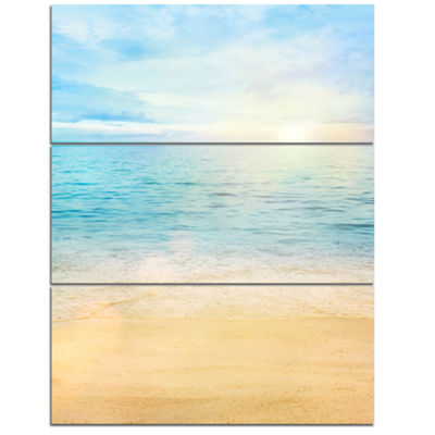 Designart Golden Sand With Blue Sea Waters Beach Photo Triptych Canvas Print