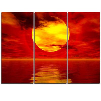 Designart Golden Sun Sinking In Red Waters Large Seashore Triptych Canvas Print