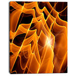 Designart Golden Yellow Abstract Fractal Design Large Abstract Canvas Art