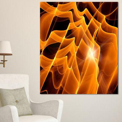 Designart Golden Yellow Abstract Fractal Design Large Abstract Canvas Art - 3 Panels