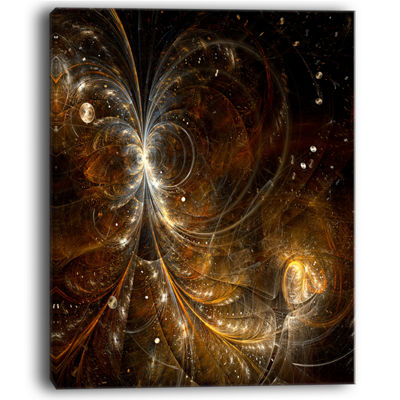 Designart Golden Yellow Digital Art Fractal FlowerFloral Canvas Art Print