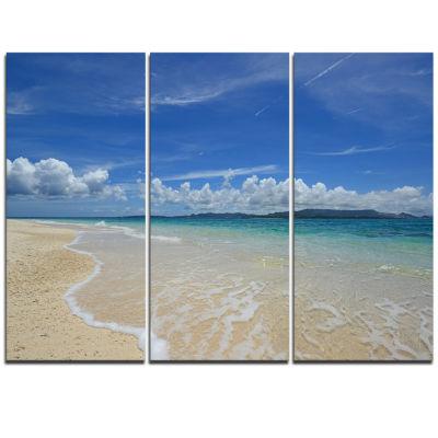 Designart Gorgeous Beach In Summertime Modern Seascape Triptych Canvas Artwork