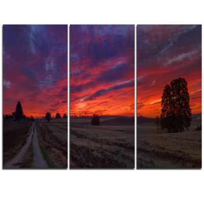 Designart Gorgeous Cloudy Sky During Fall Landscape Print Wall Artwork