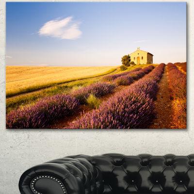 Designart Grain Fields With Lavender Rows Landscape Canvas Wall Art - 3 Panels