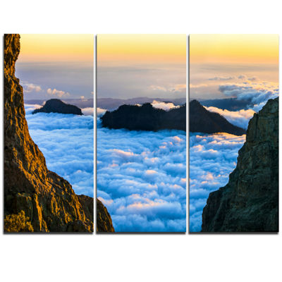 Designart Gran Canaria Sunset Over Clouds Extra Large Seashore Triptych Canvas Art