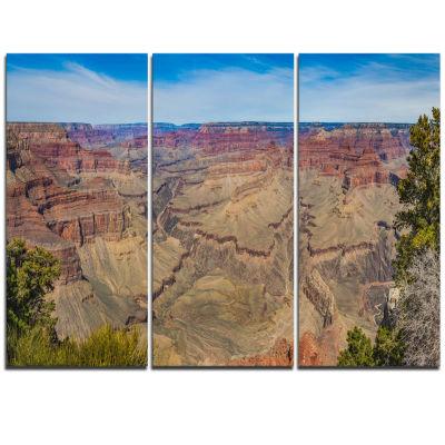 Designart Grand Canyon National Park Landscape Artwork Triptych Canvas