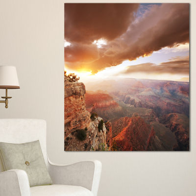 Designart Grand Canyon Under Thunderstorm Sky Oversized Landscape Canvas Art
