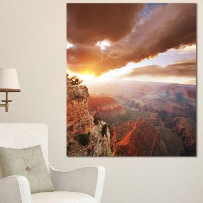 Designart Grand Canyon Under Thunderstorm Sky Oversized Landscape Canvas Art - 3 Panels