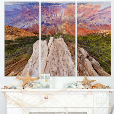 Designart Grand Canyon View From Above Modern Seascape Triptych Canvas Artwork