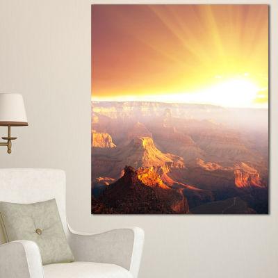 Designart Grand Canyon With Bright Sunset Oversized Landscape Canvas Art - 3 Panels