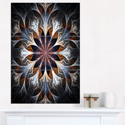 Designart Gray Brown Digital Art Fractal Flower Floral Triptych Canvas Art Print