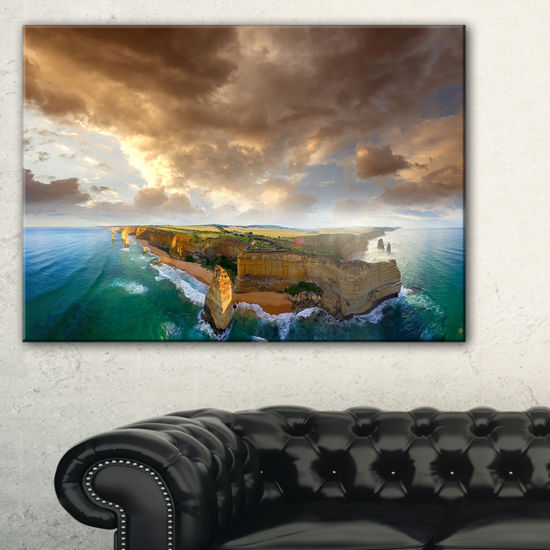 Designart Great Ocean Road Australia Blue Large Seascape Art Canvas Print