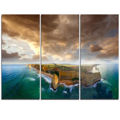 Designart Great Ocean Road Australia Blue Large Seascape Art Triptych Canvas Print
