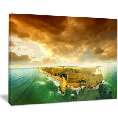 Designart Great Ocean Road Australia Green ModernSeascape Canvas Artwork