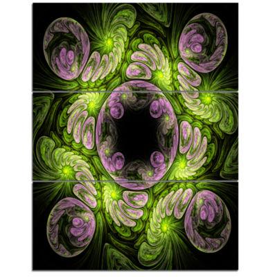 Designart Green And Purple Large Fractal Flower Floral Triptych Canvas Art Print