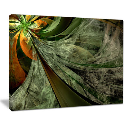 Designart Green And Yellow Glossy Fractal FlowerFloral Canvas Art Print