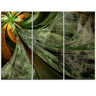 Designart Green And Yellow Glossy Fractal FlowerFloral Triptych Canvas Art Print