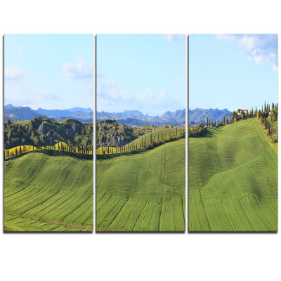 Designart Green Field With Cypress Trees PanoramaOversized Landscape Wall Art Print