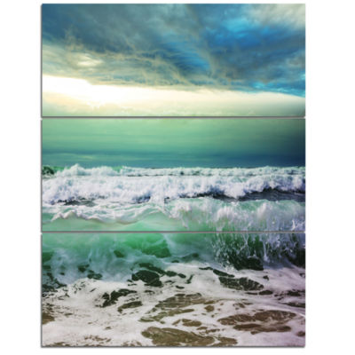 Designart Green Foaming Waves And Blue Sky Large Seashore Triptych Canvas Print