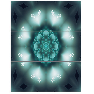 Designart Green Fractal Flower Mandala Shape LargeFloral Wall Art Triptych Canvas