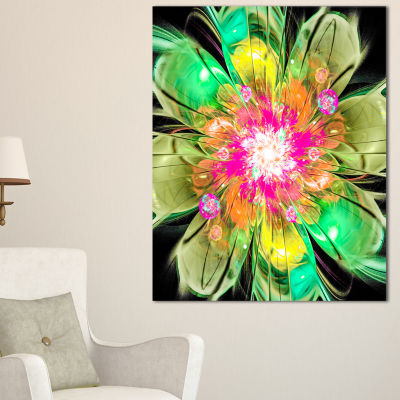 Designart Green Fractal Flower Petals Close Up Floral Canvas Art Print