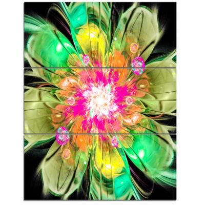 Designart Green Fractal Flower Petals Close Up Floral Triptych Canvas Art Print