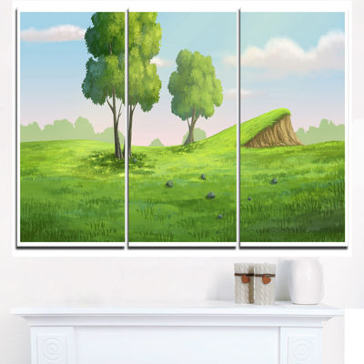 Designart Green Garden With Mound And Trees Oversized Landscape Wall Art Print