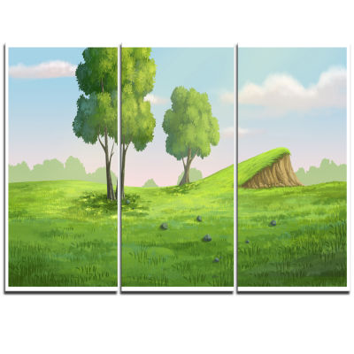 Design Art Green Garden With Mound And Trees Oversized Landscape Wall Art Print