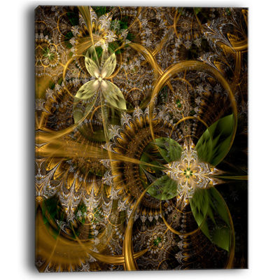 Designart Green Gold Digital Art Fractal Flower Floral Canvas Art Print