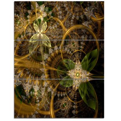 Designart Green Gold Digital Art Fractal Flower Floral Triptych Canvas Art Print