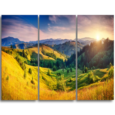 Designart Green Hills Glowing By Sunlight Landscape Triptych Canvas Art Print