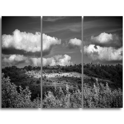 Designart Green Hills Under Cloudy Sky Extra LargeWall Art Landscape