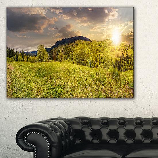 Designart Green Hillside Meadow Panorama LandscapeArtwork Canvas
