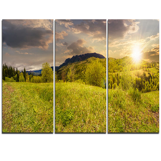 Designart Green Hillside Meadow Panorama LandscapeArtwork Triptych Canvas