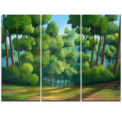 Designart Green Jungle With Dense Trees OversizedLandscape Wall Art Print