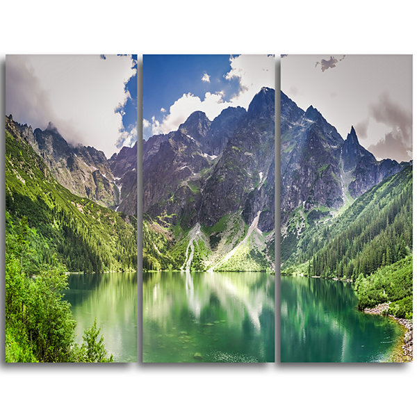 Designart Green Lake In Mountains Panorama Landscape Triptych Canvas Art Print