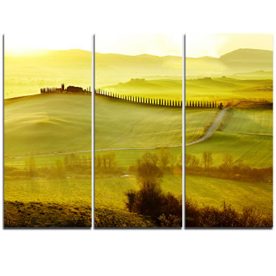 Designart Green Landscape And Rural Road Italy Landscape Print Wall Artwork