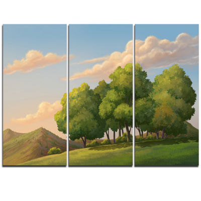 Designart Green Mounds With Green Trees OversizedLandscape Wall Art Print