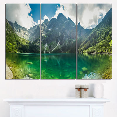 Designart Green Mountain Lake At Tatras LandscapeTriptych Canvas Art Print