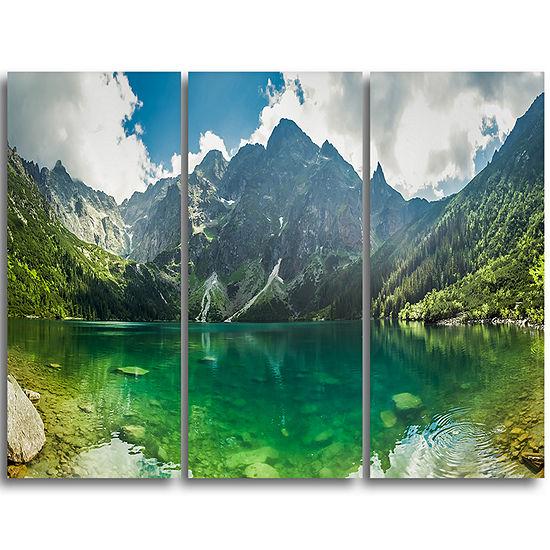 Designart Green Mountain Lake At Tatras LandscapeTriptych Canvas Art Print