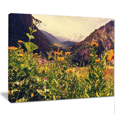 Designart Green Mountain Meadow With Flowers LargeFlower Canvas Wall Art