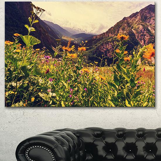 Designart Green Mountain Meadow With Flowers LargeFlower Canvas Wall Art