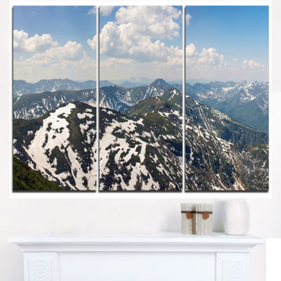 Designart Green Mountains In Spring Panorama Landscape Artwork Triptych Canvas