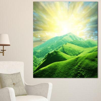 Designart Green Mountains Under Sun Landscape Canvas Art Print - 3 Panels