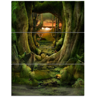 Designart Green Paradise Tunnel Modern Landscape Wall Art Triptych Canvas