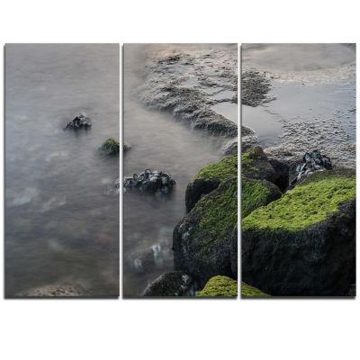 Designart Green Rocks In Beautiful Sydney Coastline Large Seashore Triptych Canvas Print
